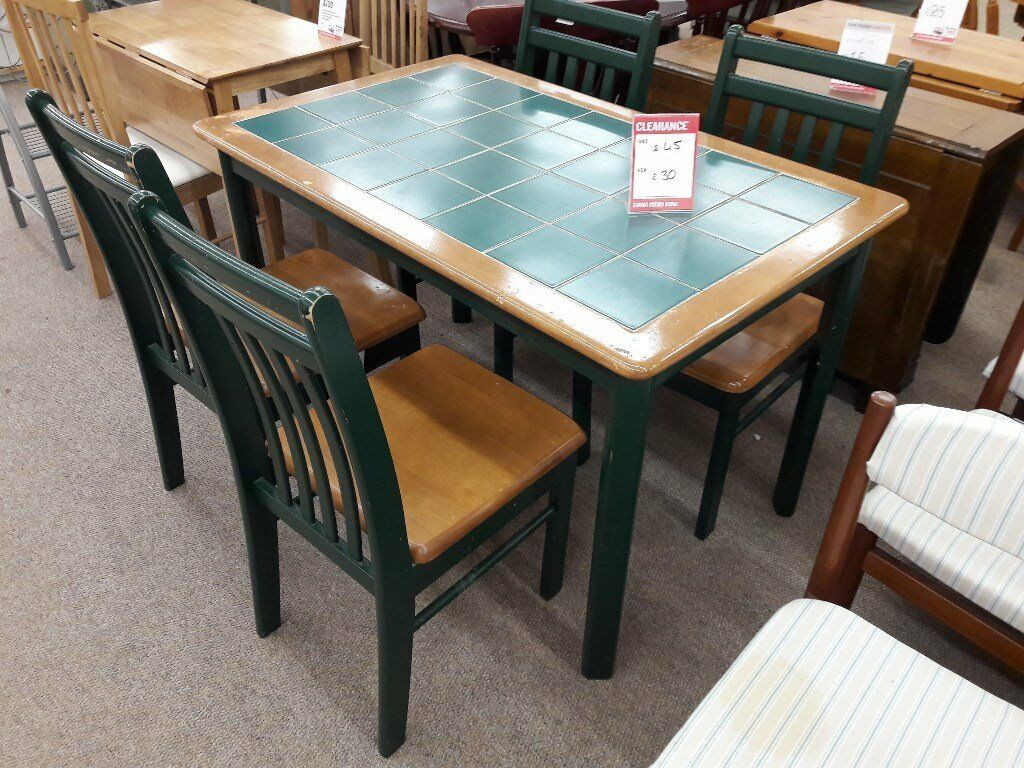 Green Wooden Dining Table Chairs
