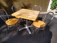 Square oak dining table & 4 chairs
