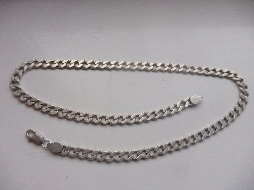 Sterling silver solid curb chain fully hallmarked (925 & makers mark) 46 grams