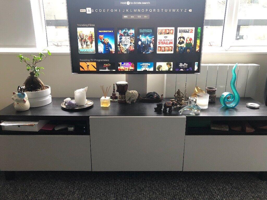 Ikea Uppleva Televisie : Ikea besta tv bench black brown with uppleva tv bracket in