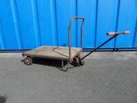 Vintage Old Trolley Cart on Wheel Garden
