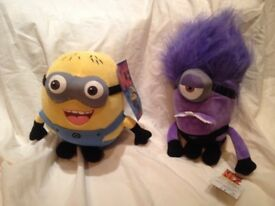 2 Despicable Me 24cm high soft toys with Tags
