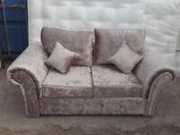 Brand new 2 seater only champagne crushed velvet sofa £249 free local delivery