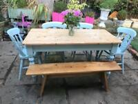 Large Farmhouse dining table chairs and bench shabby chic