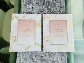 Brand New Blush Pink/Gold Marble Glass Photo Frames x2