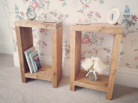 Pair of Rustic Bedside Tables