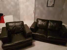 DFS black leather two seater sofa and armchair