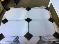 7 yards of white& Black floor tiles