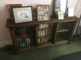 MAHOGANY BOOKCASE WITH LEADED GLASS