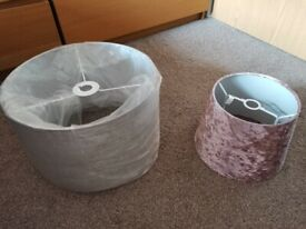 ✴️ Ceiling light shades, big light gray and small crushed velvet pink in excellent condition ✴️