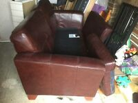 Three seater leather sofa colour brown