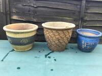 3 Various Sized Glazed Garden Flower Plant Pots VGC!