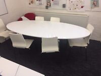 Large silk white and chrome meeting table with 6 chairs