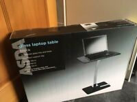 Black Glass Laptop Table, new in box