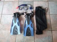 Flipper, snorkle and mask set size M/S, with black mesh carry bag.