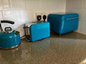 Turquoise Kmix toaster, Kenwood kettle, Typhoon bread bin
