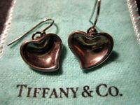 Genuine Tiffany & Co. Elsa Peretti Sterling Silver Solid Heart Drop Earrings in Good Condition