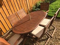 Amazing outdoor Wooden table with chairs parasol cushions and cover