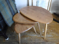Ercol Pebbel nest of Tables - Blonde