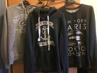 3 men's hoodies/jumper size M bundle