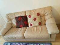 3+2+1 very nice and clean cream leather sofa