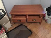Solid oak coffee table with two deep drawers