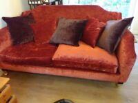 Burnt Orange 3 seater velvet sofa 2 available with cushions