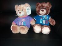 Sister and brother build a bear with heart beat