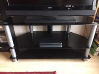 Glass three tiered tv table