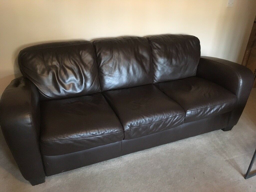Ital Sofa Brown Leather 3 Seater