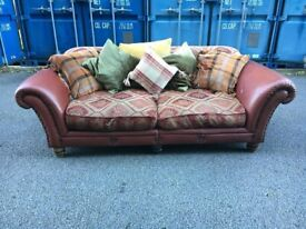 TETRAD EASTWOOD GRANDE LEATHER AND FABRIC SOFA POSSIBLE DELIVERY GOOD CONDITION