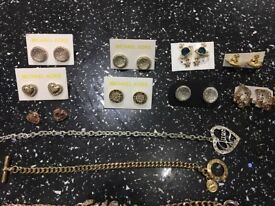 Michael Kors gold tone bracelets and necklace, VivienneWestwood studs and necklace