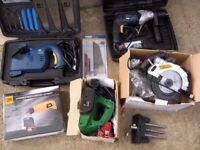 joblot of power tools hardly used circular saw,hammer drill,planer,multi-saw,JCB multi-tool,vice