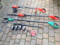 Black & Decker 18 volt Garden Tools, Pole Chainsaw, Hedge Clipper, Strimmer