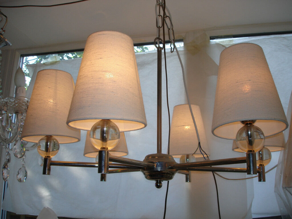 beautiful art deco 6 light chandelierin Golders Green, LondonGumtree - contemporary 6 light chandelier polished nickel finish, with 6 white linen conical shades, stunning when dimmed...tel, charlie 02084553529 or email