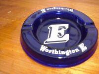 "WORTHINGTON ' E ' BLUE GLASS ASHTRAY 6"" dia x1"" high - NEVER BEEN USED"