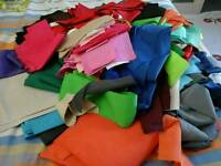 Poly cotton Fabric cut offs strips pieces approx 1/2 kg