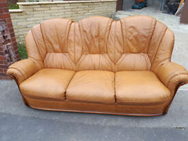 Vintage Leather Brown Sofa Alberto Nieri Three Seater