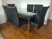 HARVEYS 6 CHAIRS AND GLASS TABLE SET