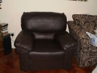 Chocolate brown faux leather arm chair ( FREE )
