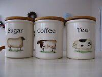 T G Green Cloverleaf Farm Animals Coffee, Tea & Sugar Storage Jars