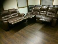 Brown leather 2 and 3 seater recliners
