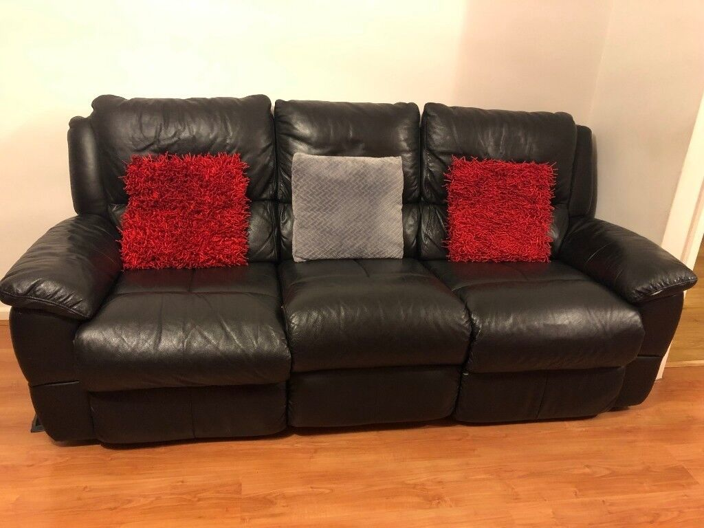 3 Seater And 2 Seater Recliner Sofa Black Leather In Reading