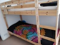 Ikea Pine Bunk Bed with 2 mattressess