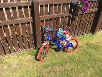 Boys Spiderman Bike and Helmet for Sale.