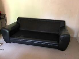 Black real leather DFS sofas 2x3 seaters