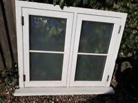 Double glazed (frosted) wooden window 1065mm x 915mm as new