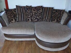 Corner sofa bed with cuddly swivel chair light chocolate with dark chocolate rim