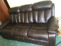 Brown Leather sofa 321 excellent condition