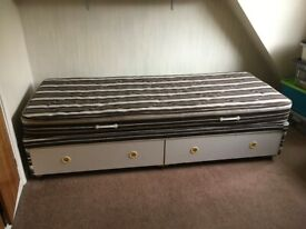 "2' 6"" Single bed. Mattress and divan base with two drawers."